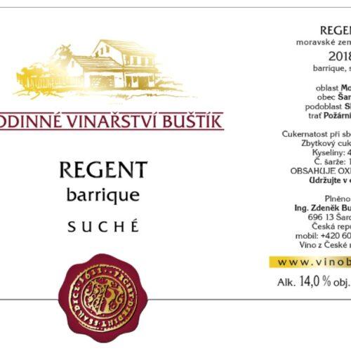 regent barrique suché 2018 vinařství Buštík
